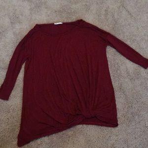 Crimson soft 3/4 length top